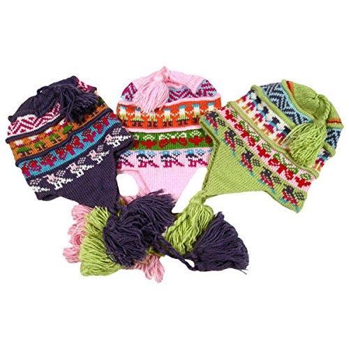 #3283 Chullo Peru Ski Alpaca Wool Winter Hand Knit Pleated Fair Trade Assorted