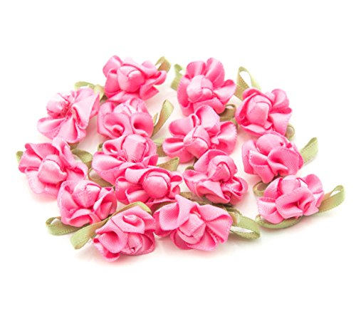 HAND H0681 Pretty Ribbon Bow Sew On Trim with Coloured Fabric Flower and Bud for Clothing Embellishment 23 mm x 18 mm Pack of 20, Bright Pink by HAND