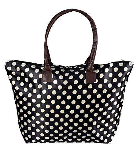 - Peach Couture Womens Beach Fashion Large Travel Tote Handbag Shoulder Bag Purse Polka Dot Black White