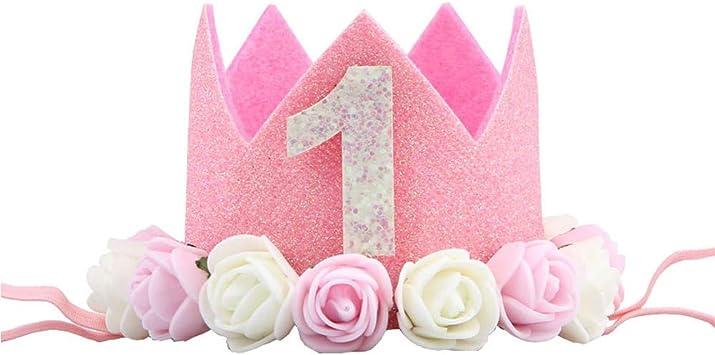 CAOLATOR.Venda Beb/é de 1 A/ño de Pel Beb/é Banda Infantil para El Pelo Ni/ños Bandas Banda de Pelo de Cumplea/ños Diadema Tiara Princesa Crown para Mujeres Ni/ños Cumplea/ños-Rosa roja