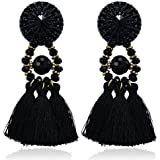 eManco Vintage Statement Black Tassel Drop Dangle Earrings for Women Handcrafted Crystal Casual Jewelry