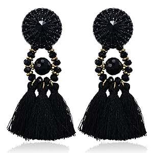 eManco Black Boho Statement Earrings For Women Big Tassel Dangling Crystal Beads Costume Jewellery