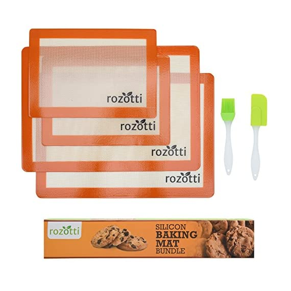 Rozotti Silicone Baking Mat Bundle (6-Piece Set) 2 Half Sheets Silicone Baking Mat and 2 Quarter Sheets Silicone Baking Mat, Silicone Baking Brush, Silicone Baking Spatula | Non-Stick, Heat-Resistant 4 SILICONE BAKING MAT Bundle - Complete Cooking & Baking Set. This multipurpose cookware bundle comes with two half and two quarter-sized silicone cooking sheets, a silicone cleaning brush, and a silicone spatula; everything you need to prep, cook, serve, and enjoy! SILICONE BAKING MAT - Smarter, Healthier Cooking. Silicone is not only more flexible, durable, and longer-lasting, it's non-stick, which means you can cook without adding fat, butter or oils. This ensures healthier, more delicious meals great for the whole family. Food-Grade Safe Silicone - Each silicone baking sheet and utensil is non-stick, ecofriendly, BPA free and completely reusable. The mats are also FDA and LFGB certified to ensure high-quality support you can trust with every meal.
