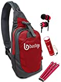 """Bastex On the """"GO"""" Bundle, Red Shoulder Travel Sports Backpack. With LED Mini Flashlight, and Stylus, Wired Ear Bud Headphones with Mic"""
