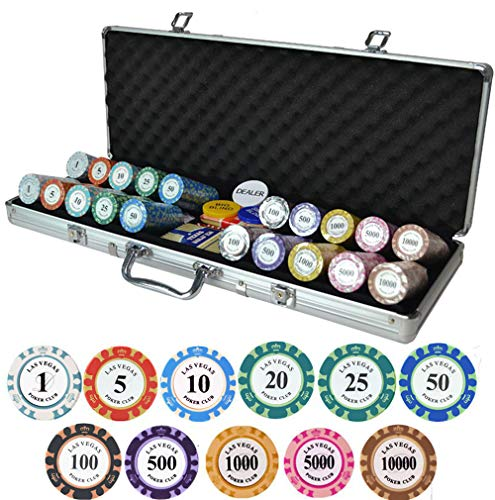 HenMerry Clay Poker Chip Set,14-Gram Heavyweight Poker Chip Coin with Aluminum Box,Optional Denomination Club Poker Chips for Casino Chess Room Entertainment City Tourism Party (500PCS Aluminum - Poker Chess
