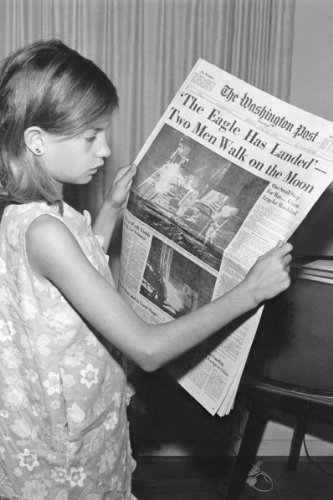 New 5x7 Photo: Girl with Moon Landing Newspaper, - New Moon Magazine