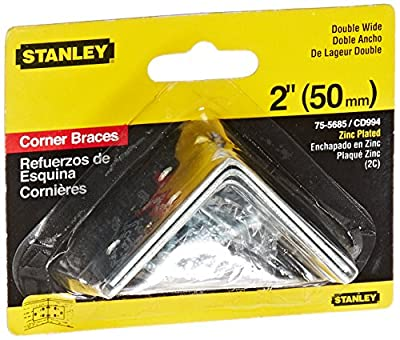 Stanley Hardware 2-Inch Double Wide Corner Brace, Zinc Plated, 2-Pack #755685