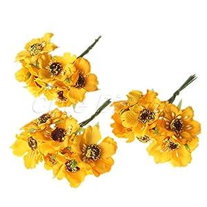 Chic Wedding Bridal Bouquet Party Decor Artificial Camellia Flowers DIY Craft Yellow 72Pcs 93