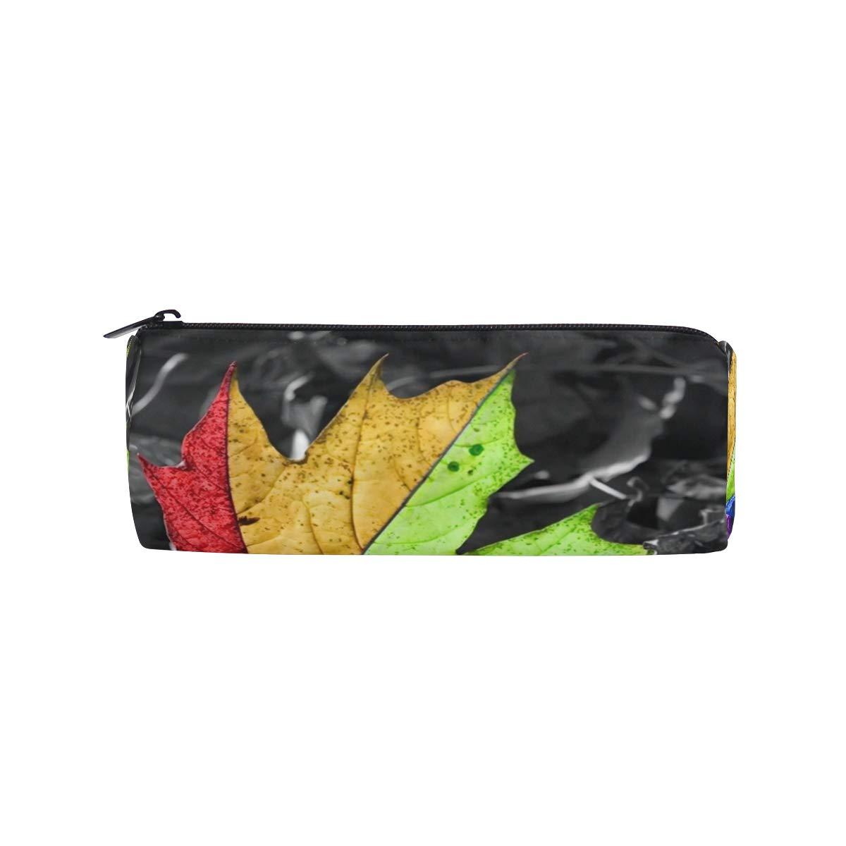 Pencil Pouch Rainbow Leaf and Black Background HD Zipit Cute Pencil Cases School Pen Organizer Holder Womens Makeup Bag
