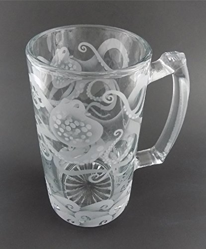 (IncisoArt Hand Etched 25 Ounce Champions Beer Mug Sandblasted (Sand Carved) Handmade Glass Stein (Octopus Waves Sea Shell))