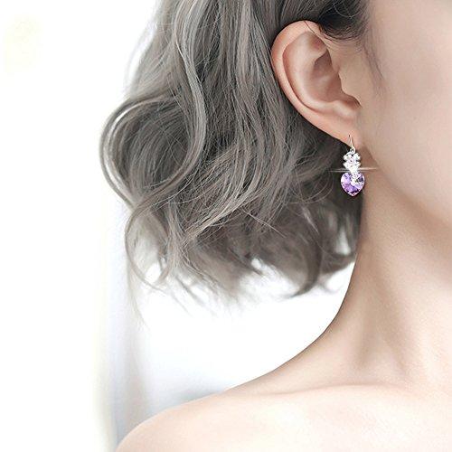 FEDNON Heart Pendant Necklaces Heart Drop Dangel Earrings Bracelet with Violet Australia Crystal Jewelry Sets for Girlfriend by FEDNON (Image #2)