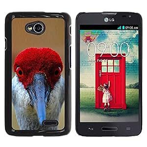 YOYOYO Smartphone Protección Defender Duro Negro Funda Imagen Diseño Carcasa Tapa Case Skin Cover Para LG Optimus L70 LS620 D325 MS323 - divertidos rojos ojos pico pluma pájaro tropical