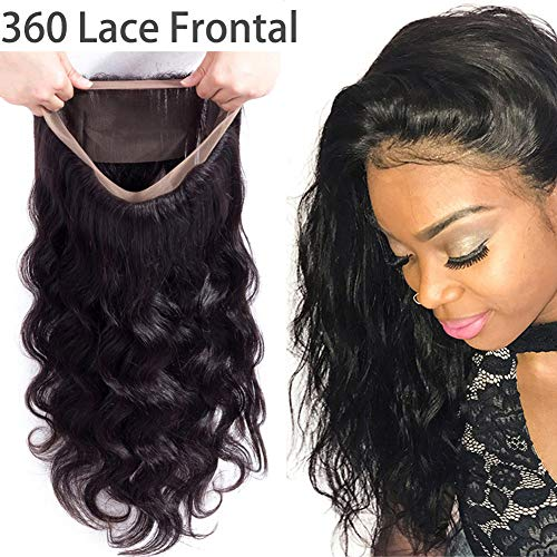 Doris Beauty 360 Lace Front Closure Free Part With Baby Hair 14inch Brazilian Body Wave Human Hair Lace Frontal 360 Body Wave Lace Frontal Closure Natural Black(14 inch)