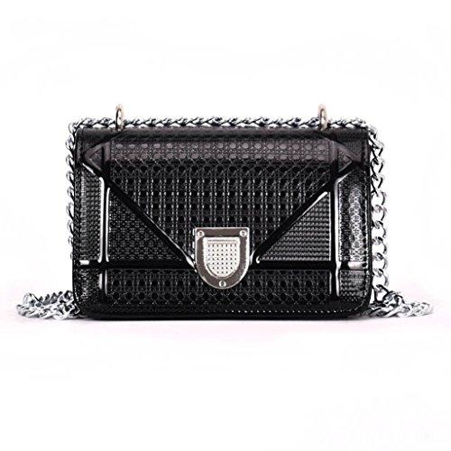 Handbag unie de chaîne Sac sac bag à PU main cuir femmes Messenger noir verrouillage couleur sac bandoulière à Black de Couleur sac A petit ZZxqr48