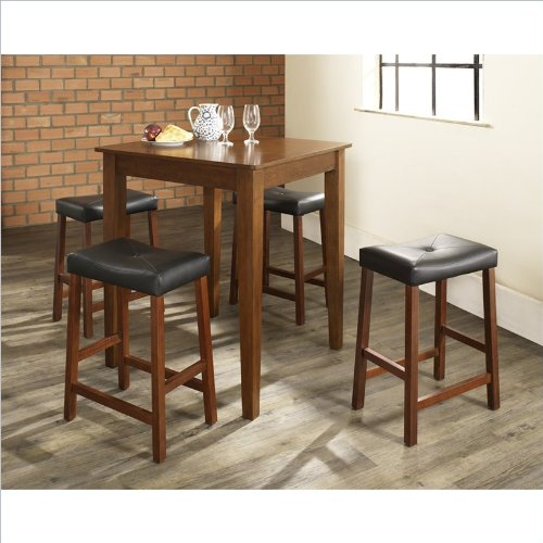 5 Pc Pub Dining Set w Tapered Leg and Saddle Stools in Cherry