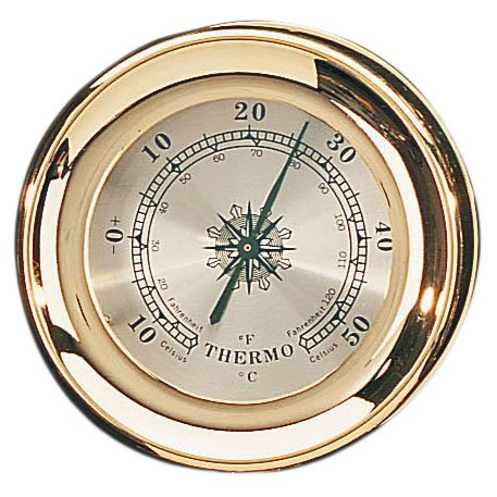 4.5'' Brass Captain Thermometer with Lacquer Coating Nautical Tropical Home Decor by Nautical Tropical Imports