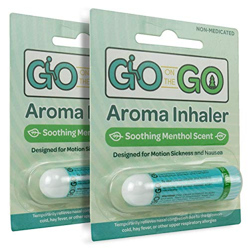 - Go on the Go Aromatherapy Inhaler for Anti Nausea, Morning Sickness, Motion Sickness and Nasal Congestion Relief - Menthol Scent, Natural Remedy, Travel Sized (2 Pack)