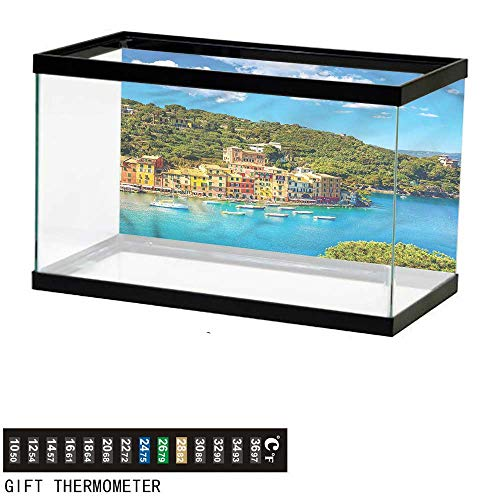 (bybyhome Fish Tank Backdrop Italy,Portofino Panoramic View,Aquarium Background,72