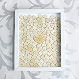 Tamengi Personalized Wedding Guest Book,Custom Name & Date Guestbook Alternative Wood Drop Top Frame Wedding Guest Book Box Rustic Unique 150Pcs Hearts Decor