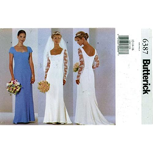 UNCUT OOP BUTTERICK 6387 MISSES WEDDING GOWNS EVENING DRESSES SEWING PATTERN SIZES 12 14 16