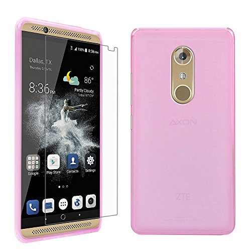 ZTE Axon 7 Case with Screen Protector, Gzerma Gel Skin Frosted TPU Soft Cover and Ultra-Thin Soft Explosion-Proof Protective Film for ZTE Axon 7 (Pink for Girl)