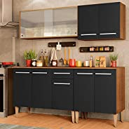 Cozinha Completa Madesa Emilly Box com Balcão e Armário Vidro Miniboreal - Rustic/preto