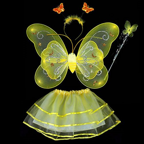 Yellow Dress Up Costumes (Fairy Butterfly Wing 4 Piece Set Costume Tutu Ballerina Dress up Dance skirt (Yellow))