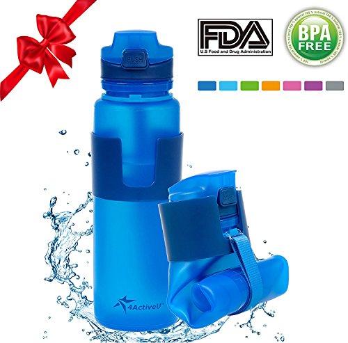 4activeU Collapsible Water Bottle | 22oz Sports Bottle Blue (Blue)