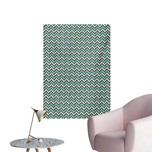 (Anzhutwelve Turquoise Photo Wall Paper Wavy Lines with Abstract Chevron Pattern Herringbone Stripes Retro Zigzag ImageMulticolor W24 xL36 Cool Poster)