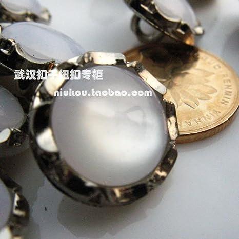 Botones de botón de perla de 16,5 mm, estilo de camisa monopoly, hebilla de metal
