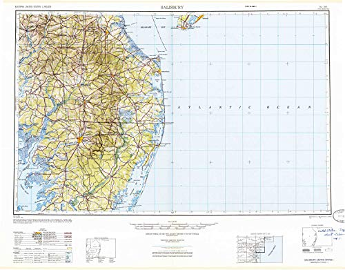 YellowMaps Salisbury MD topo map, 1:250000 Scale, 1 X 2 Degree, Historical, 1947, Updated 1948, 24.1 x 30.8 in - Paper -