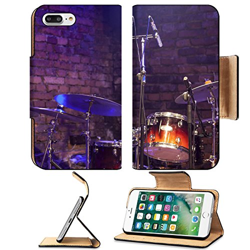 Luxlady Premium Apple iPhone 7 Plus Flip Pu Leather Wallet Case iPhone7 Plus 24404769 Drum Kit and Microphone on a stage - Concert Stage Cymbals