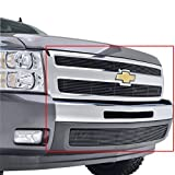 07 silverado black grill - E-Autogrilles Aluminum Black Overlay Billet Grille Grill Insert Combo Kit (Includes Grille & Lower Bumper Inserts) without Tow Hooks for 07-13 Chevy Silverado 1500 (36-5101B)