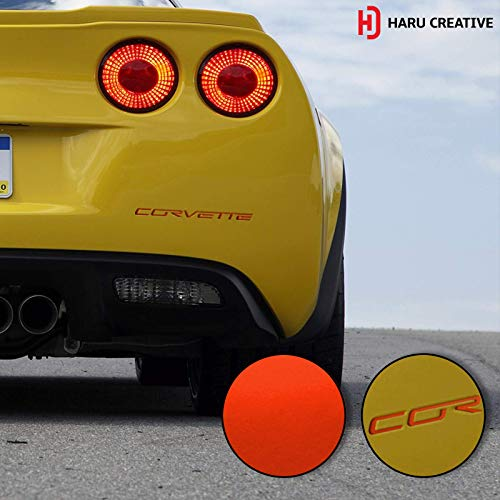 Haru Creative - Rear Bumper Trunk Letter Insert Overlay Vinyl Decal Sticker Compatible with and Fits C6 Corvette 2005-2013 - Metallic Matte Chrome Red ()
