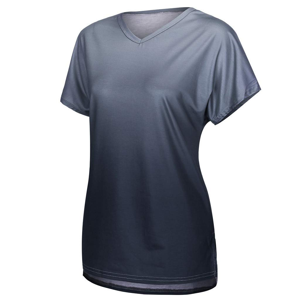 TnaIolral Women Tops Short Sleeve V-Neck Gradient Colour Loose Tee T-Shirt by TnaIolral (Image #2)