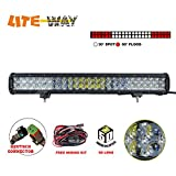 LITE-WAY Upgraded 5D Lens 23Inch Osram 33600LM Led Light Bar with Mounting Brackets & Wiring Harness Combo Beam Spot Flood Offroad Work Driving 4wd Lamp Christmas Gifts, 1 Year Warranty