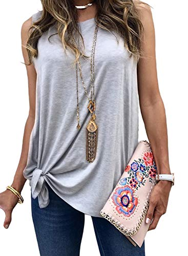 (AlvaQ Women Causal Tank Tops for Juniors Front Knot Summer Sleeveless Shirt Vest Blouses Fashion 2019 Plus Size Grey 2X )