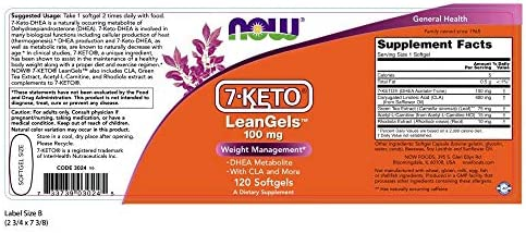 NOW Supplements, 7-Keto LeanGels 100 mg  with CLA, Green Tea Extract, Acetyl-L-Carnitine and Rhodiola Extract, 120 Softgels 3