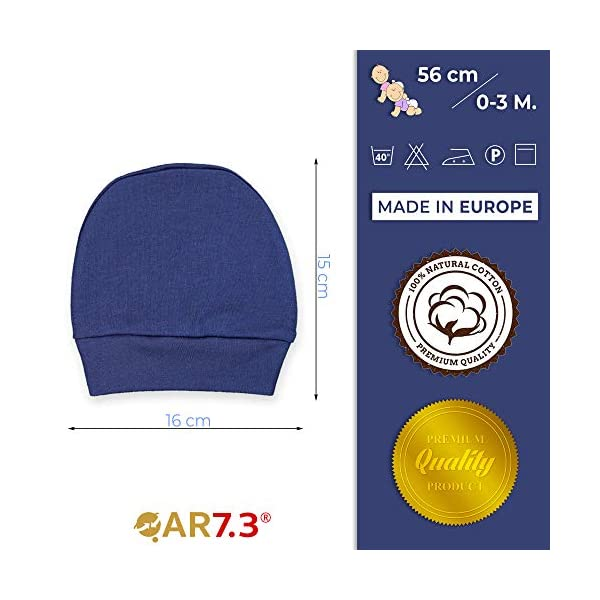 QAR7.3 Completo Vestiti Neonato 0-3 mesi - Set Regalo, Corredino da 5 pezzi: Body, Pigiama, Bavaglino e Cuffietta (Blu… 6