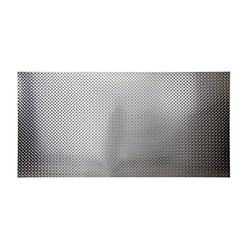 Fasade - 4ft x 8ft x .013in Diamond Plate Brushed Aluminum Decorative Wall Panel - Fast and Easy Installation (12