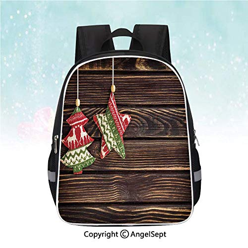 Nylon Fabric Backpack,Retro Pine Tree and Star Shaped Banner on Rustic Panel Shabby Ornaments Design,13