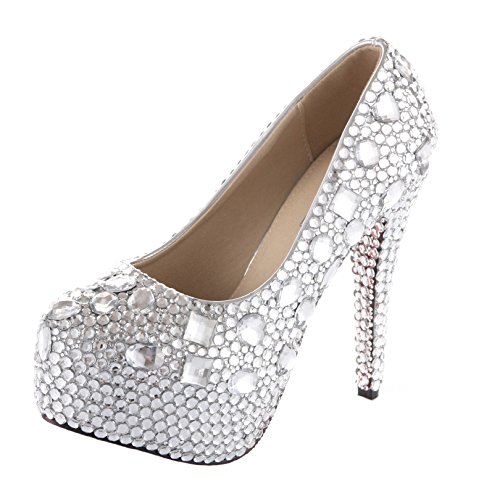 VELCANS Unique Rhinestone and Crystal Womens Bridal Shoes,Evening and Party Shoes,Wedding Shoes and Platform Bridal Pumps (6.5 B(M) US, High Heel:5.5 Inches) by VELCANS