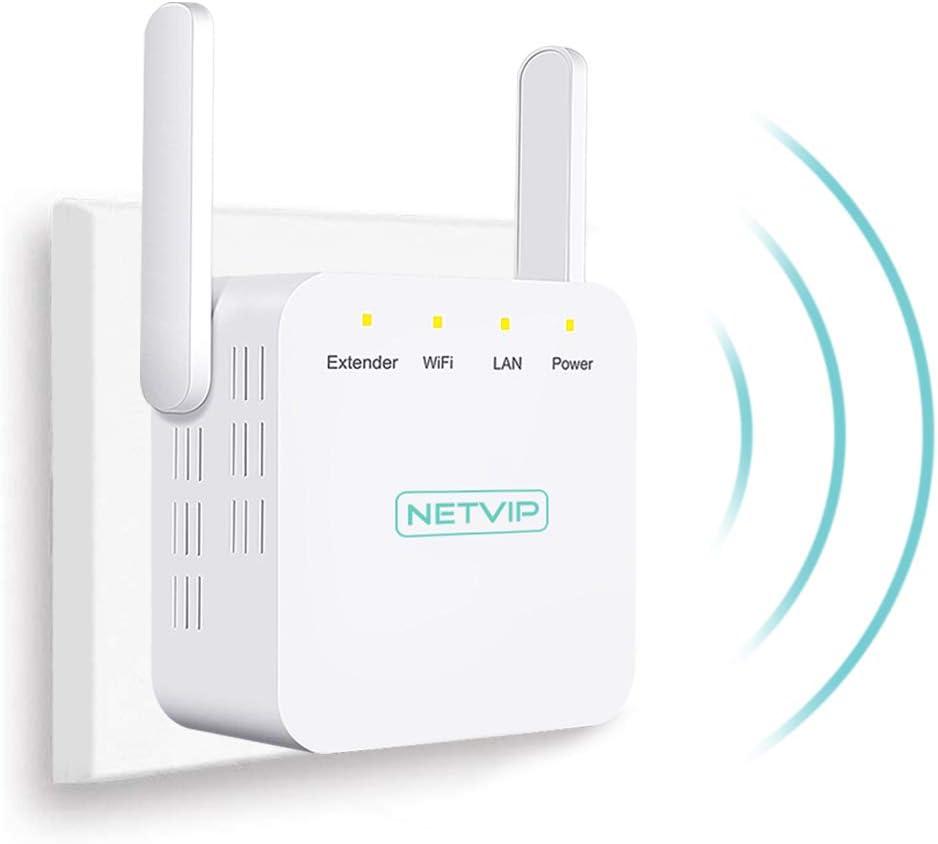 NETVIP Repetidor WiFi 300Mbit/s Extensor de Red WiFi Amplificador Enrutador Inalámbrico 2.4GHz Red de Internet Señal WiFi Repetidores de Red (2 x Antena Externa, Puerto LAN, Enchufe EU)