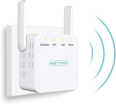 NETVIP Repetidor WiFi 300Mbit/s Extensor de Red WiFi Amplificador Enrutador Inalámbrico 2.4GHz Red de Internet Señal WiFi Repetidores de Red (2 x ...