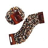 Exotic Beads Rainbrow Bronze, Translucent Lt. Brown & Antique White 14-Strand Glass Beaded Bracelet w/Buckle – 7-inch