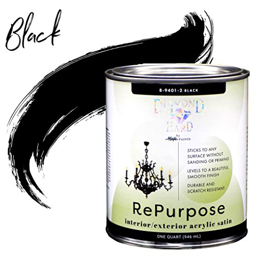 Majic Paints 8-9401-2 Diamond Hard Interior/Exterior Satin Paint RePurpose your Furniture, Cabinets, Glass, Metal, Tile, Wood and More and More, 1-Quart, Black