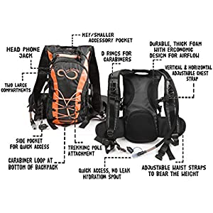 Hydration Backpack With 2.0L TPU Leak Proof Water Bladder- 600D Polyester -Adjustable Padded Shoulder, Chest & Waist Straps- Silicon Bite Tip & Shut Off Valve- (Orange)