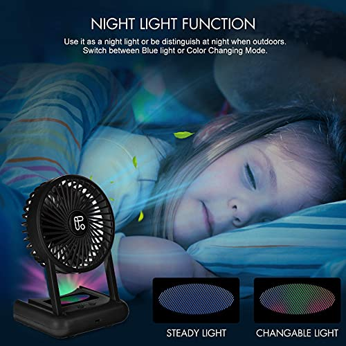 Small USB Desk Fan Quiet, Night Light - 4000mAh USB / Battery Powered Rechargeable Personal Portable Fan, 3 Speeds, 5-23 Working Hours - for Travel Office Table Indoor Outdoor, Black