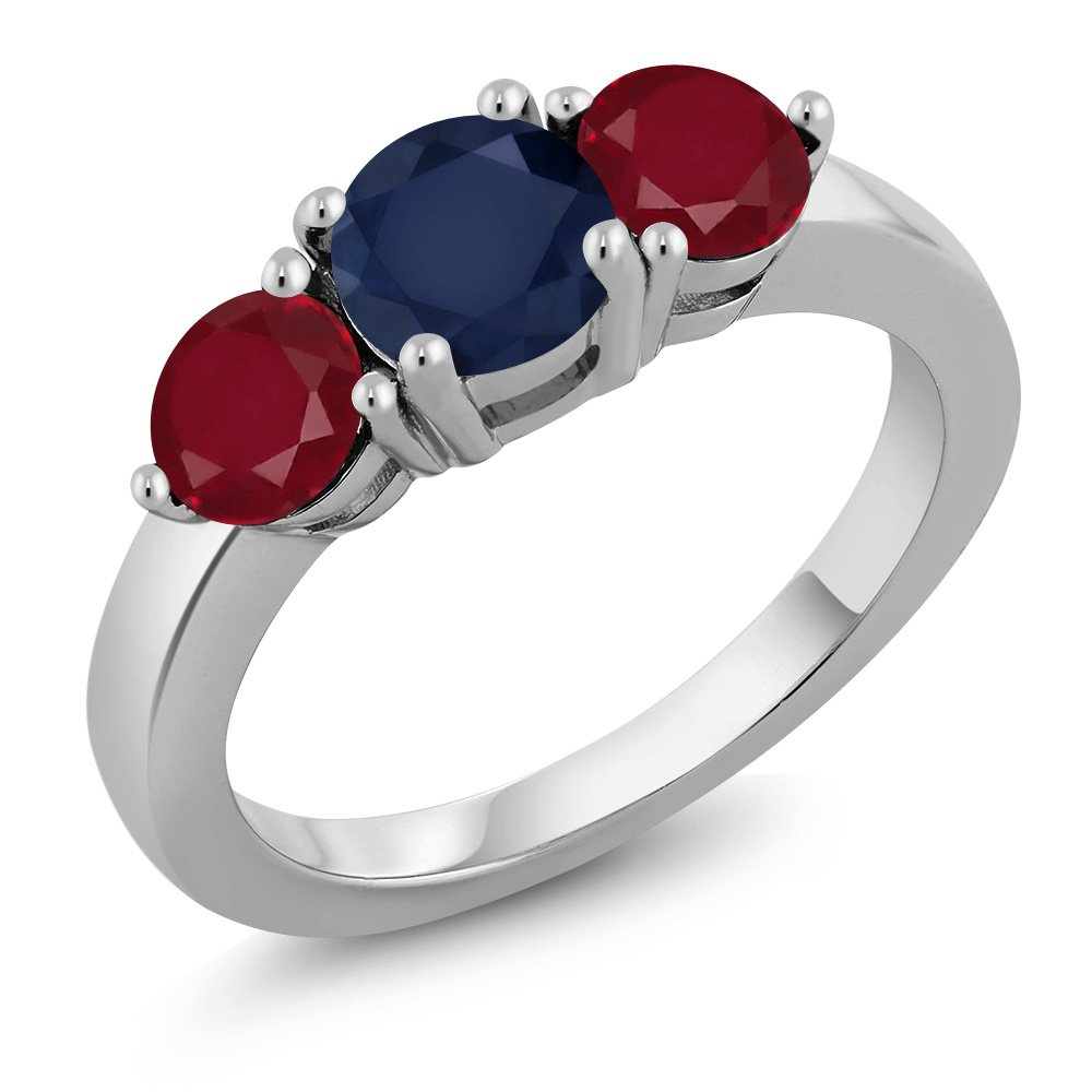 2.10 Ct Round Blue Sapphire Red Ruby 925 Sterling Silver Ring