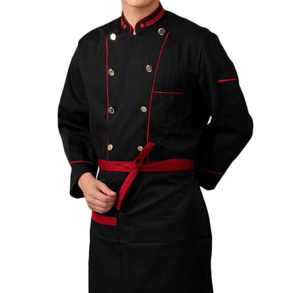 Nanxson Unisex Herren Kochjacke Basic Schwarz Langarm Baumwolle Kü che Hotel Kochkleidung Uniform Berufsbekleidung mit knö pfen CFM0004 CFM0001